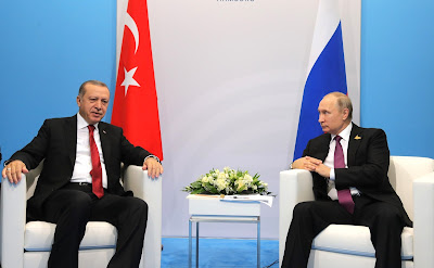 Vladimir Putin at a meeting with President of Turkey Recep Tayyip Erdogan.