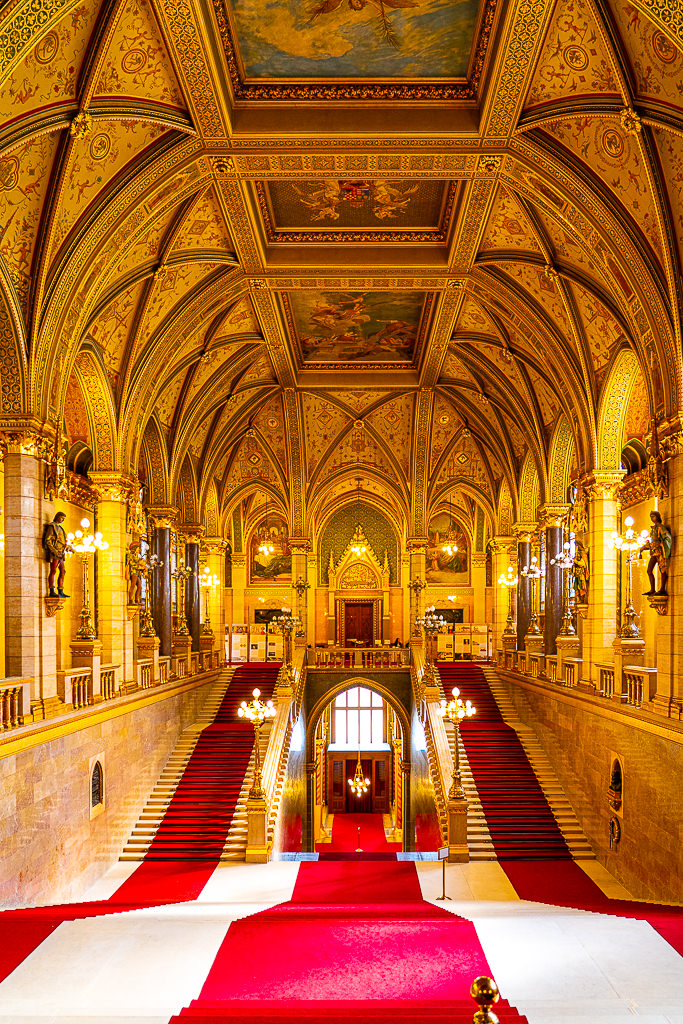a photo of the interior staircase of hungary budapest parliament building