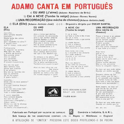 SALVATORE ADAMO Canta Em Português (EP) 1967