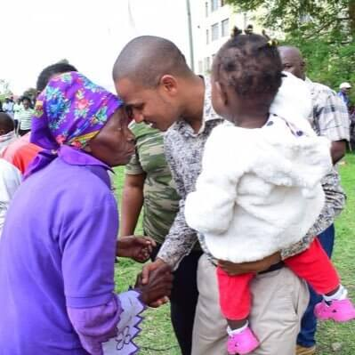 Babu Owino with his grandmother