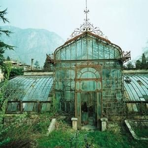 abandoned Victorian Style Greenhouse, Villa Maria, in northern Italy near Lake Como.