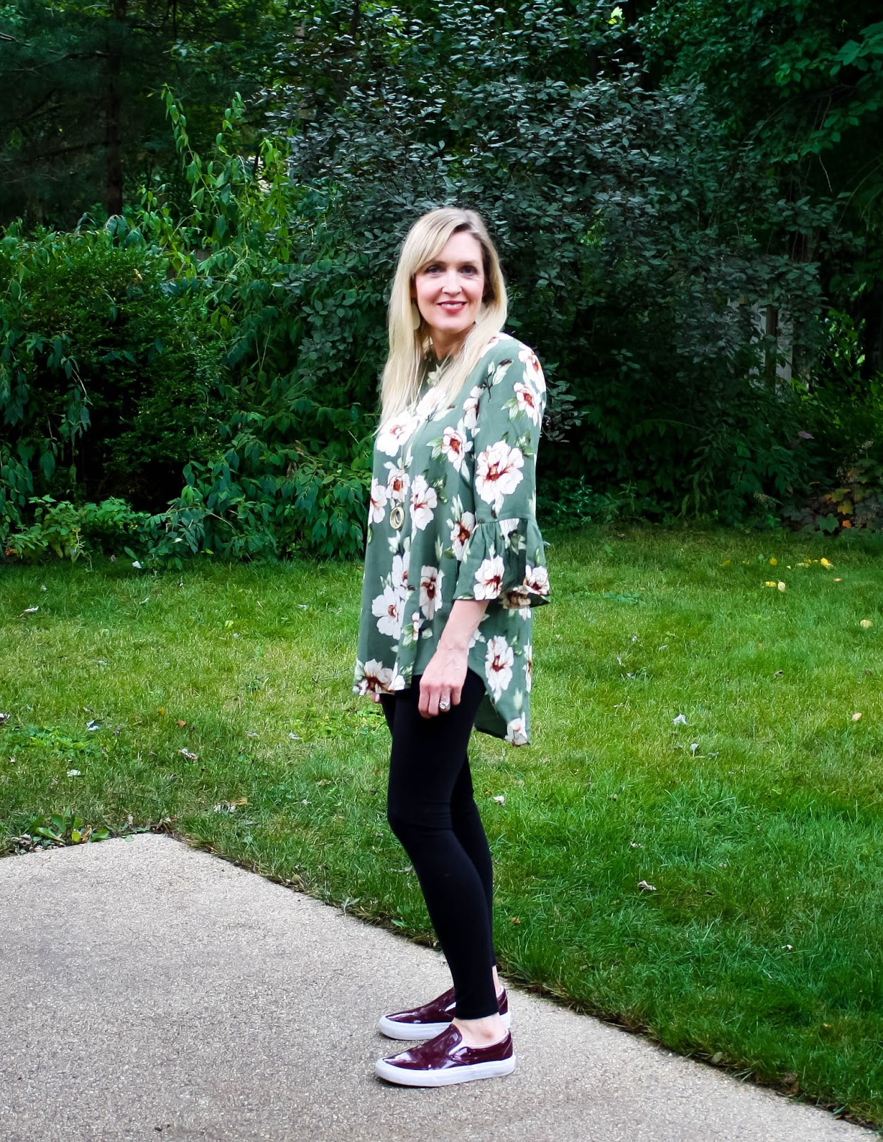 Travel Style: Olive Floral Tunic with Leggings and Burgundy Sneakers