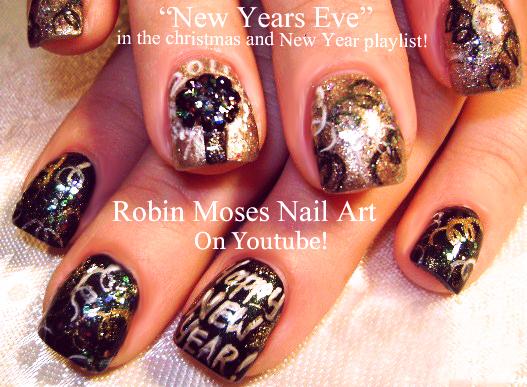 Nail Art By Robin Moses New Years Nails 2018 Black And Gold Nye