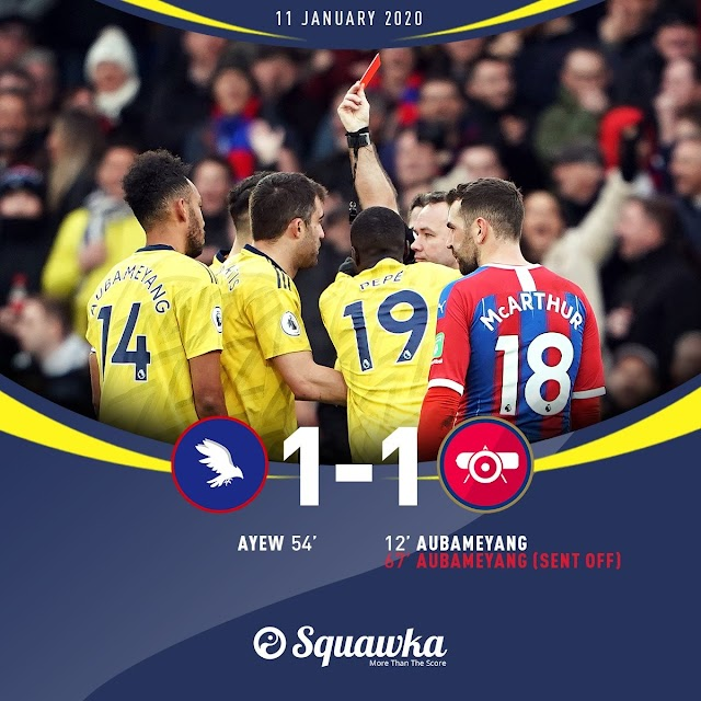 Crystal Palace reach 4 consecutive games unbeaten vs Arsenal for first time