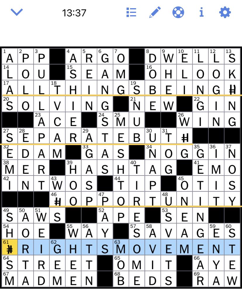Web Ny Times Crossword : times, crossword, Times, Crossword, Puzzle, Solved:, Thursday's, November
