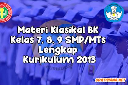 Materi Klasikal BK Kelas 7, 8, 9 SMP/MTs Lengkap Kurikulum 2013