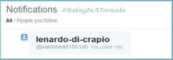 Lenardo-di-CRAPio twitter follow. Some people have way too much time on their hands | www.BakingInATornado.com | #humor #funny