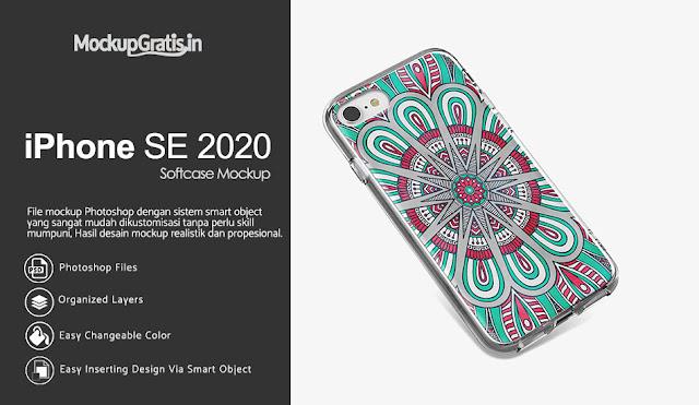 Mockup Softcase iPhone SE 2020 Gratis
