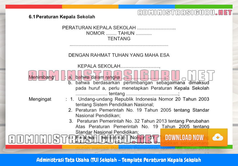 Contoh Format Peraturan Kepala Sekolah Administrasi Tata Usaha Sekolah Terbaru Tahun 2015-2016.docx