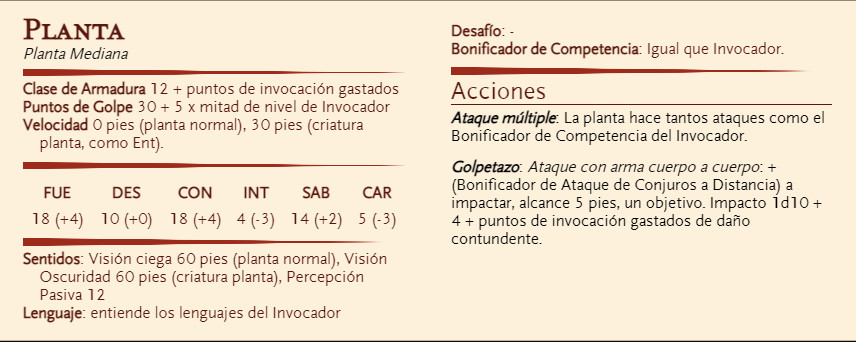 Clase para D&D - El Invocador - Planta