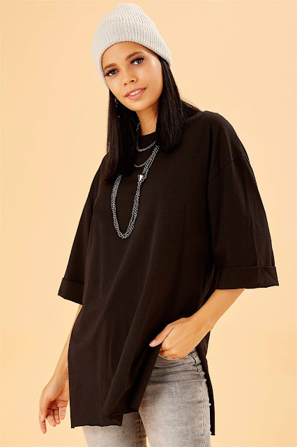 Yandan Yırtmaçlı Oversize Siyah Basic Tunik T-Shirt