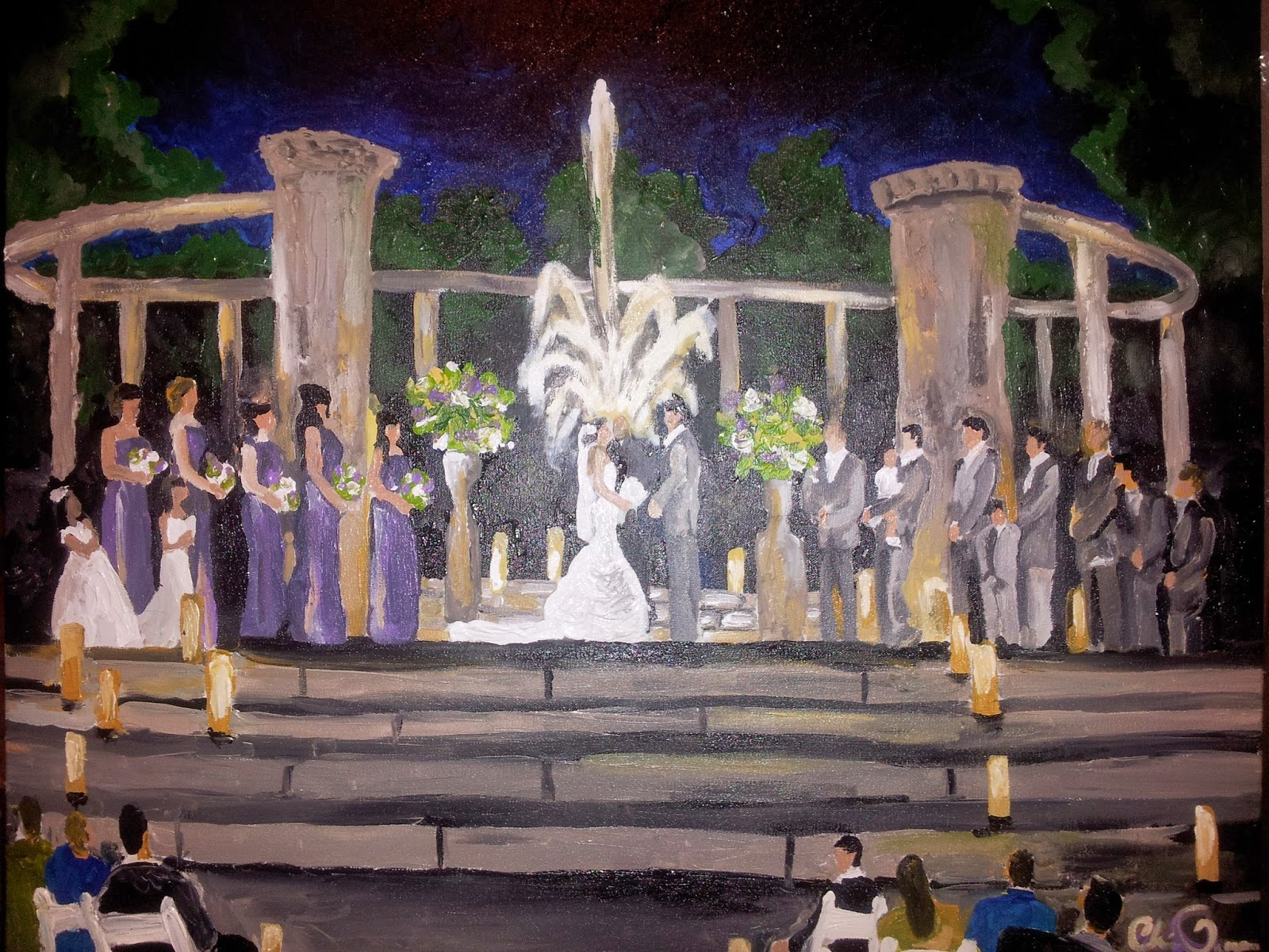 Live Wedding Painting City Park New Orleans Popp Fountain