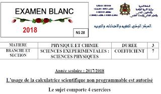 Examen Blanc 2018: physique-chimie Bac-SCIENCES EXEPERIMENTALES SCIENCES PHYSIQUES francais