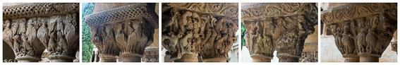 Capiteles de las columnas del claustro romanico de santo Domingo de Silos