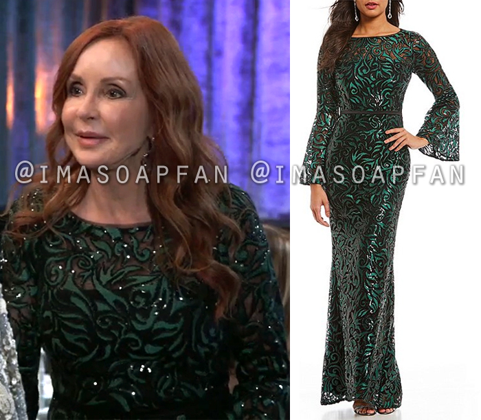 Bobbie Spencer, Jackie Zeman, Green and Black Sequined Lace Gown with Bell Sleeves, Dress, Nurses Ball, General Hospital, GH