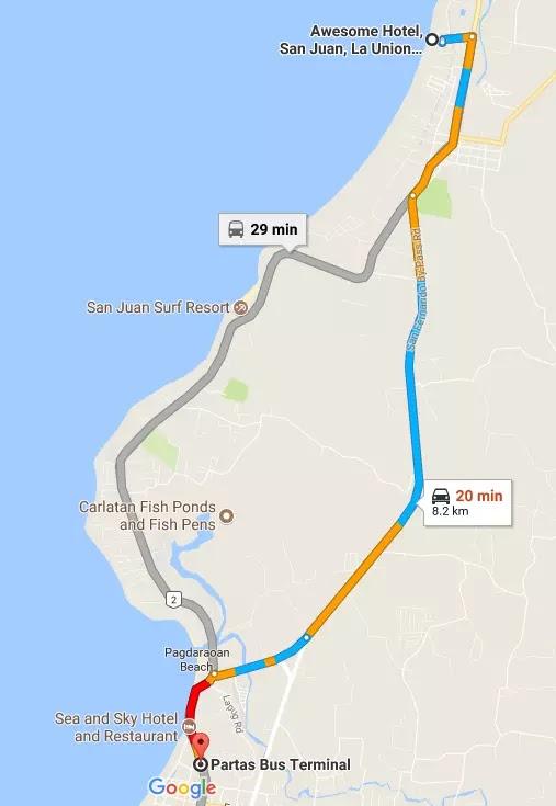 Google Maps Partas Bus Station to Awesome Hotel San Juan. La Union Region I Philippines