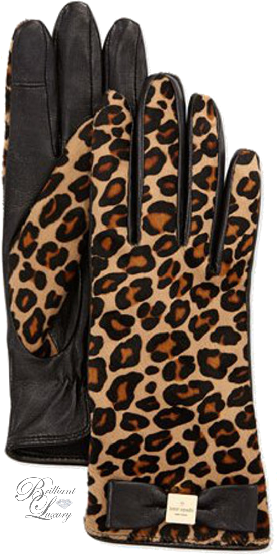 Brilliant Luxury ♦ Kate Spade New York Leopard-Print Calf Hair Bow Logo Gloves