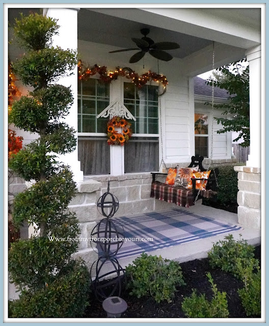 Farmhouse Cottage Style Fall Front Porch-Fairy Lights-From My Front Porch To Yours