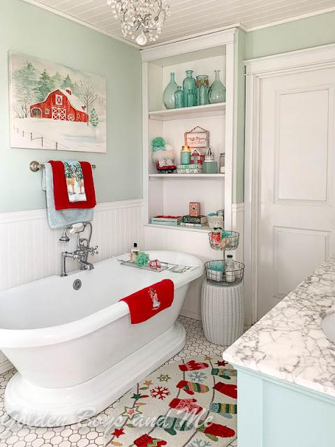 Master Bathroom with colorful Christmas decor - www.goldeboysandme.com