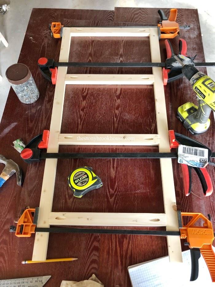 Ladder of shelf unit clamped together