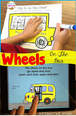 Wheels on the Bus is just one of the fabulous fall songs and fingerplays for preschool speech therapy in this post. Lisette shares links to the best Youtube videos to teach them, speech and language targets and more autumn speech and language activities like this bus-themed speech activities pack. #speechsprouts #fingerplays #speechandlanguage #preschool #fallpreschoolactivities #spidertheme #wheelsonthebus #nurseryrhymes #backtoschool #bustheme