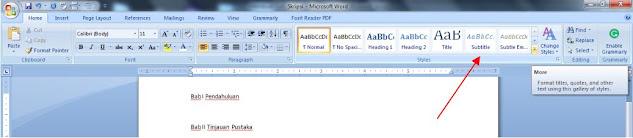 cara membuat style pada ms word