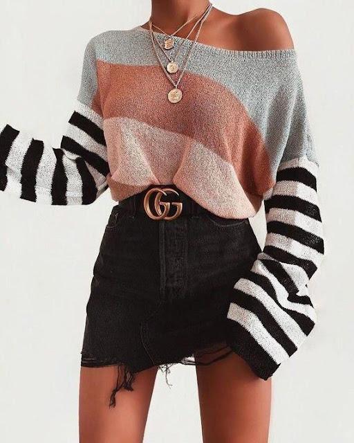 outfit con falda jeans corta