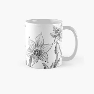 monochrome daffodil mug