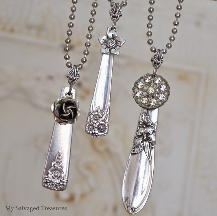 DIY repurposed silverware handle necklaces embellished pendants
