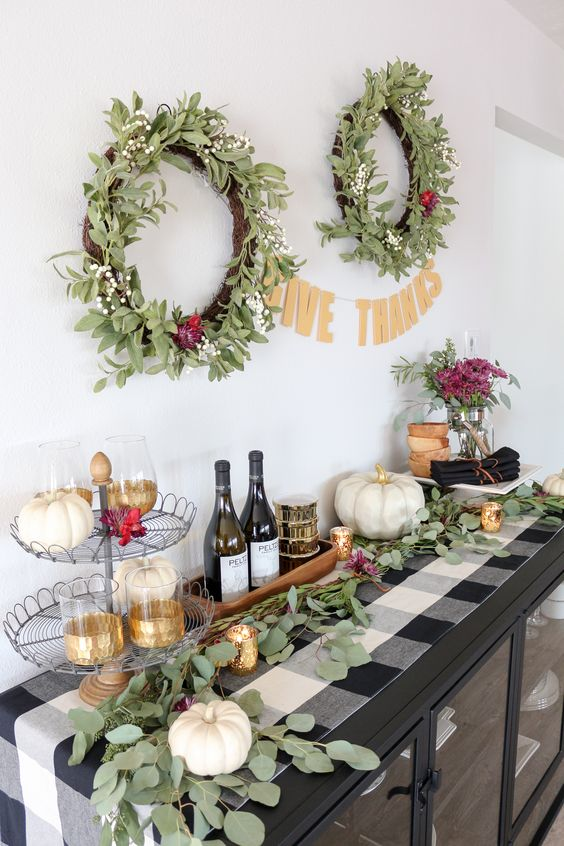 Thanksgiving Sideboard Decor & Entertaining Idea