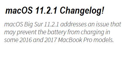 macOS 11.2.1 Changelog