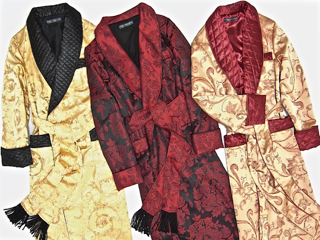 Men's luxury quilted silk dressing gown paisley robe smoking jacket