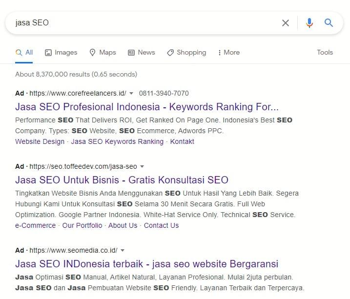 Iklan digital hasil pencarian