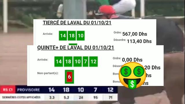 Arrivée DE AGENU 01/10/2021 Tiercé et Quinté