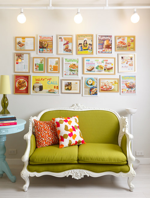 wall gallery, fun frame gallery, green sofa, french sofa, chich sofa