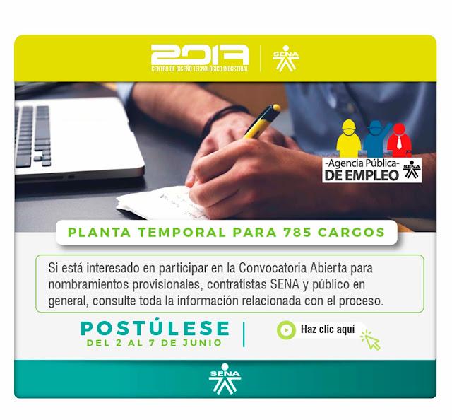 CONVOCATORIA ABIERTA PARA 785 CARGOS DE PLANTA TEMPORAL EN EL SENA