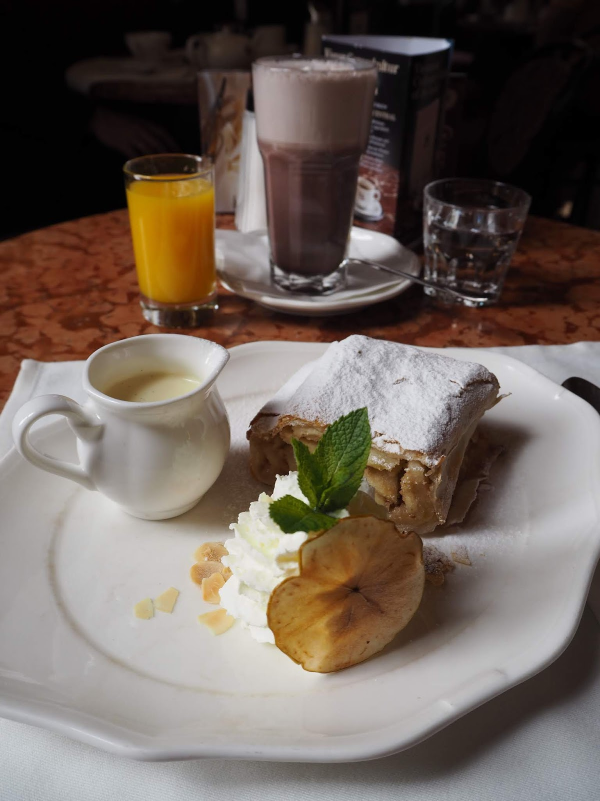 apple strudel served at cafe central in vienna