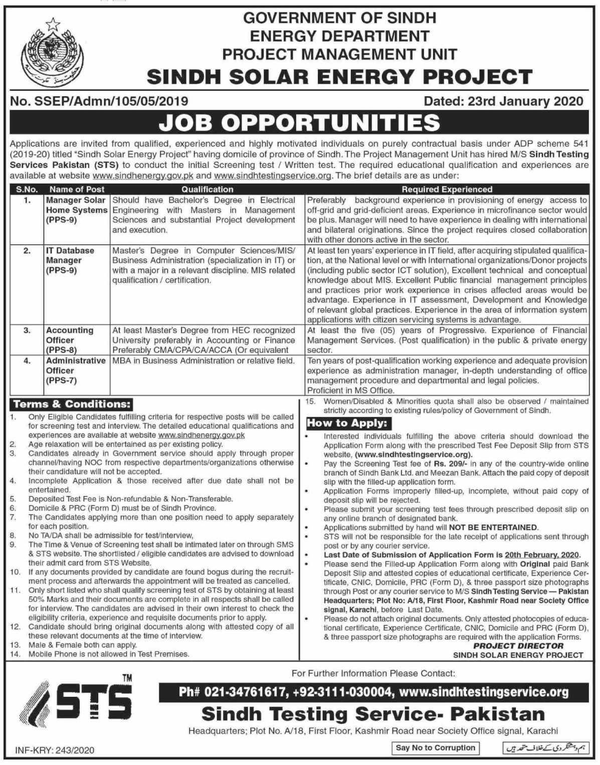 Energy Department Government of Sindh Jobs 2020 - Sindh Jobs