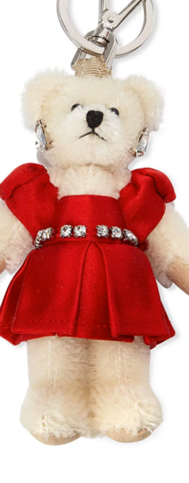Prada Teddy Bear Charm for Handbag w/Red Dress