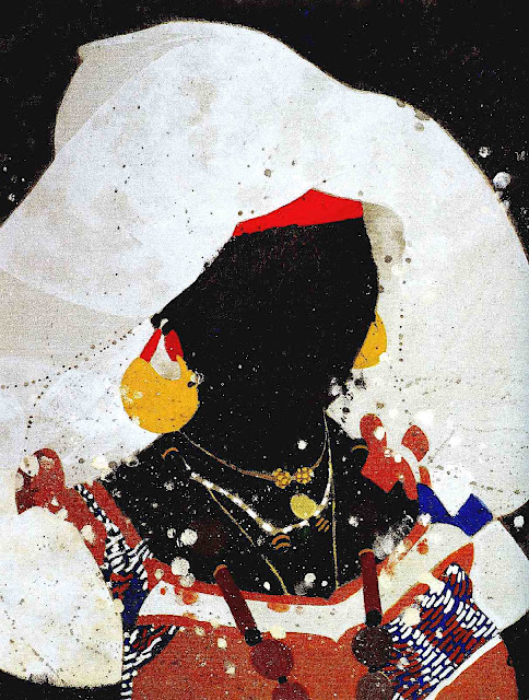 Mark English painting of a pretty black woman