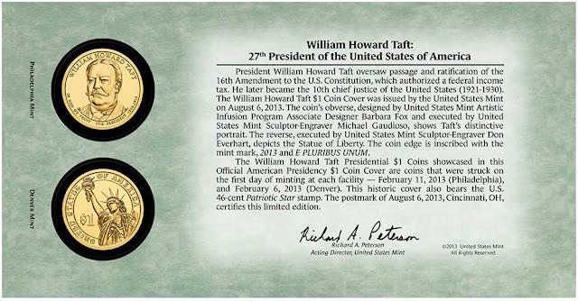 William Howard Taft 2013 One Dollar Coin Cover