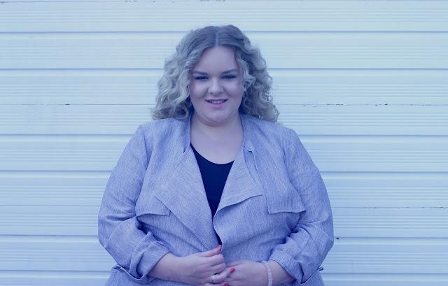 River Island Plus Size Blue Trench Coat WhatLauraLoves Blogger