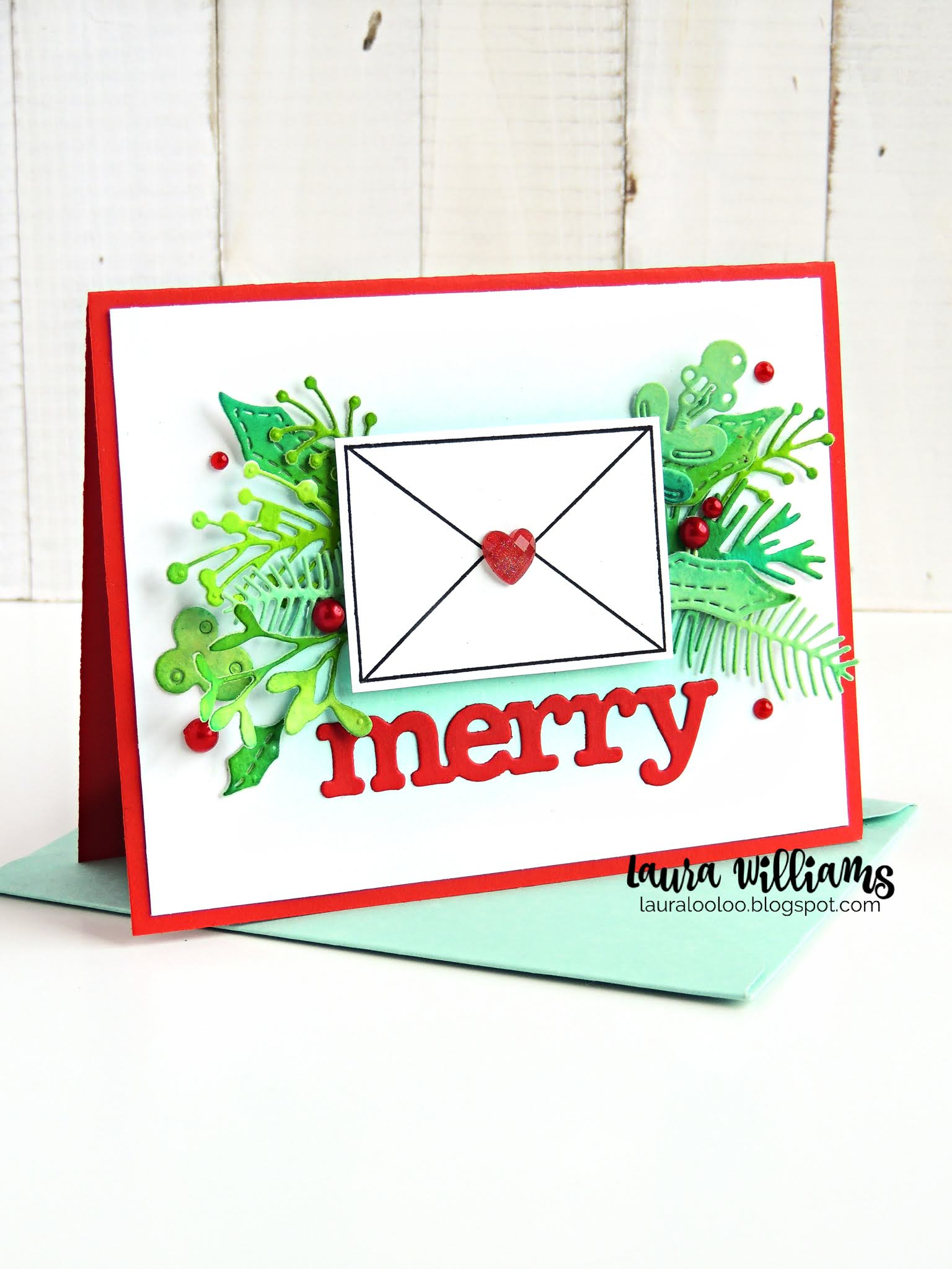 Make a Merry Christmas Card with stamps and dies from Impression Obsession featuring the Winter Foliage dies and a sweet stamped envelope. Click to find all the details and tips for making this handmade card project.