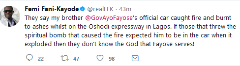 Enemies do not know the God Fayose Serves, Fani-Kayode reacts to Gov's G-wagon burnt