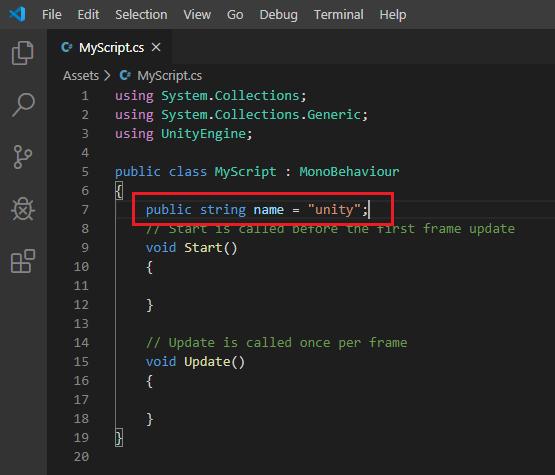 defining variables in unity script