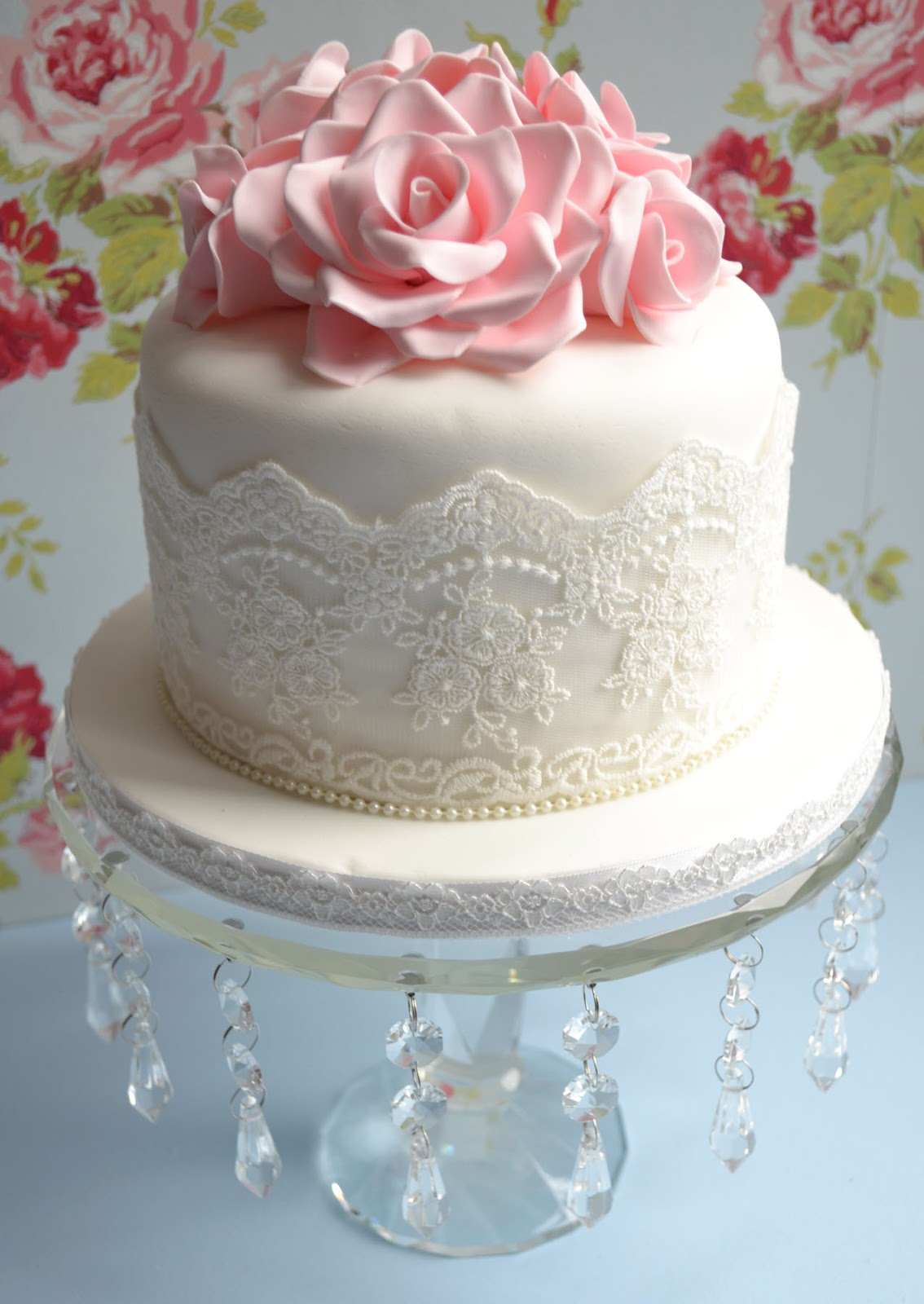 Little Paper Cakes 60th Birthday Vintage Rose Lace Cake