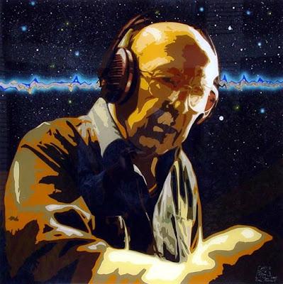Fotografía de Oskar Sala reinterpretada por Emil Schult en una serie sobre pioneros de la música electrónica