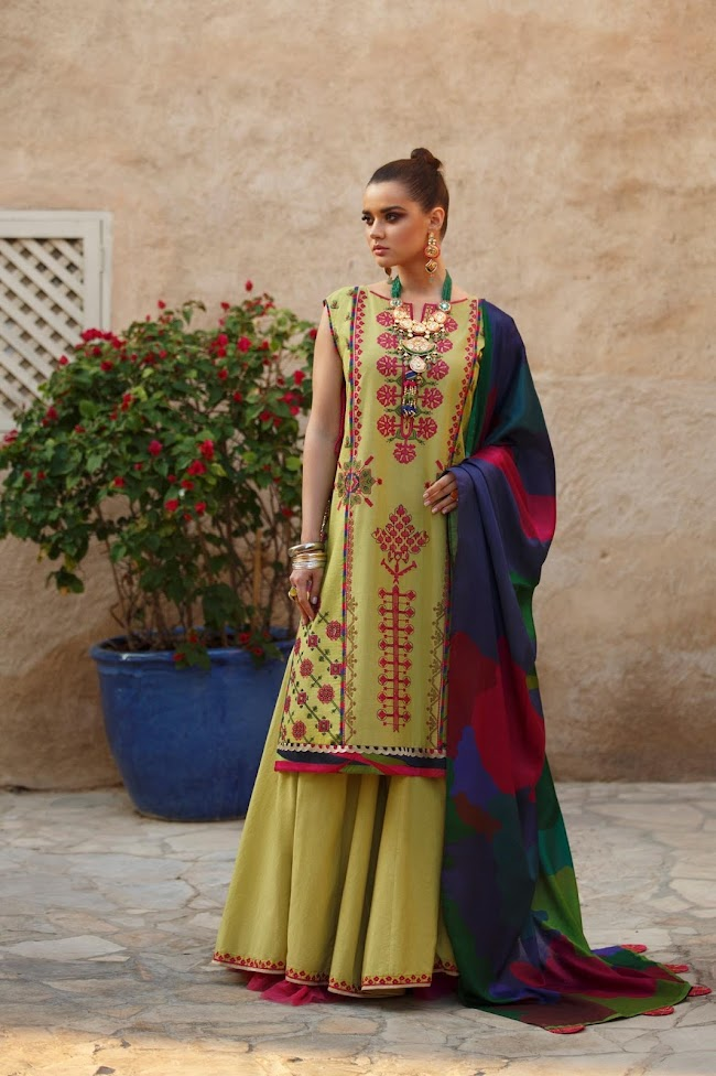 Ethnic Olive Suit Embroidered Lawn