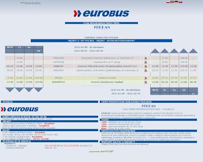Eurobus-Eurolines, rozkład jazdy linii E-707