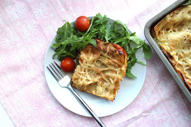 Vegan Roasted Vegetable and Spinach Lasagne